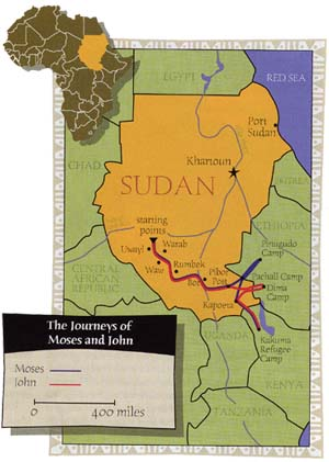 Lost and found map of moses ajou and john akoks journey through sudan publicscrutiny Gallery